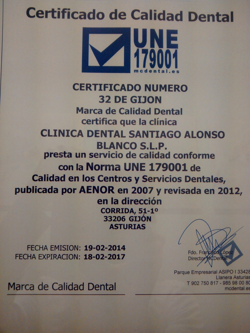 NORMA DE CERTIFICADO CALIDAD DENTAL QUE DISTIGUE LAS CLINICAS DENTALES